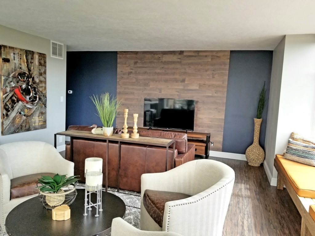 Living Room Wood Plank Wall